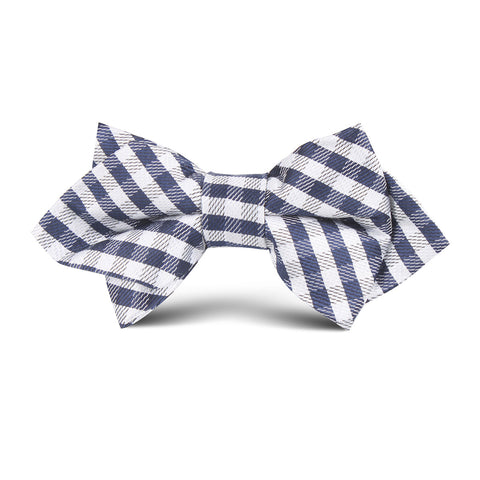 Navy Blue Gingham Kids Diamond Bow Tie