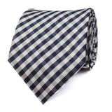 Navy Blue Gingham Necktie Front View