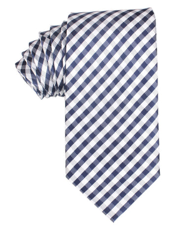 Navy Blue Gingham Necktie