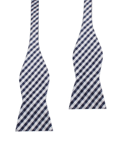 Navy Blue Gingham Self Tie Bow Tie