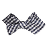 Navy Blue Gingham Self Tie Diamond Tip Bow Tie 2
