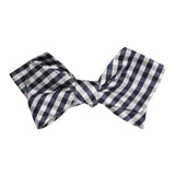Navy Blue Gingham Self Tie Diamond Tip Bow Tie 1
