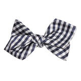 Navy Blue Gingham Self Tie Diamond Tip Bow Tie 3