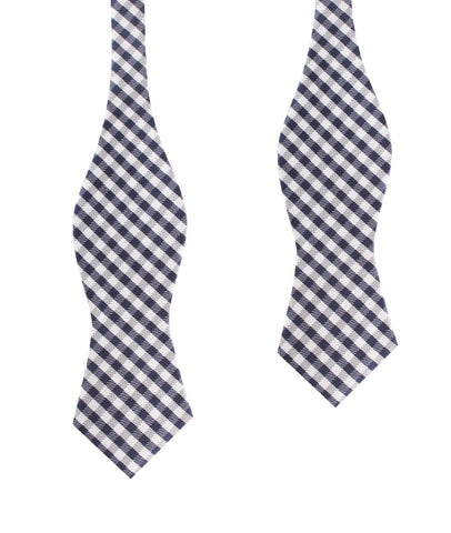 Navy Blue Gingham Self Tie Diamond Tip Bow Tie