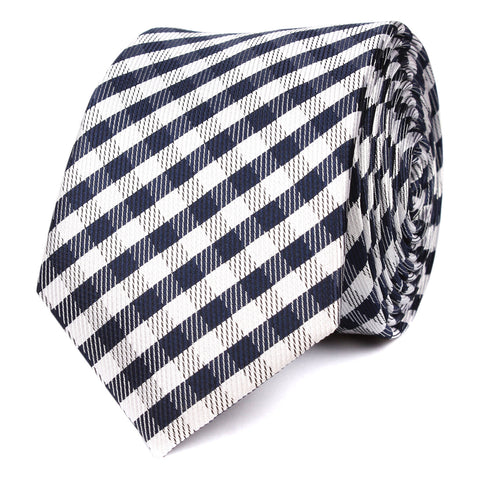 Navy Blue Gingham Skinny Tie