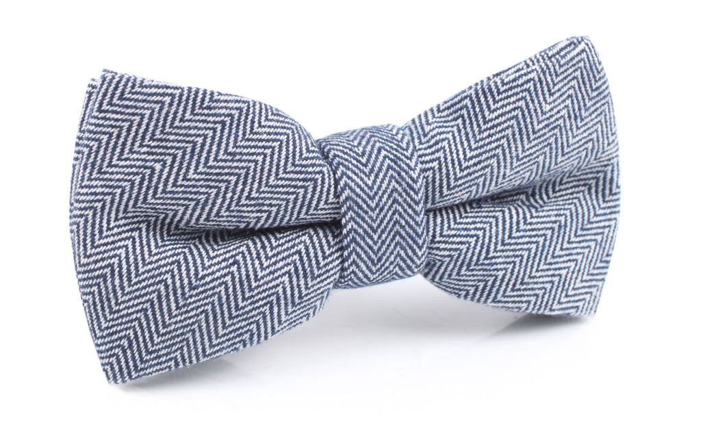 Navy Blue Herringbone Linen Bow Tie