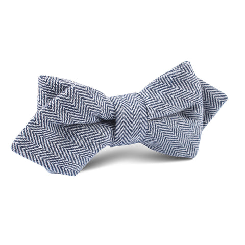 Navy Blue Herringbone Linen Diamond Bow Tie