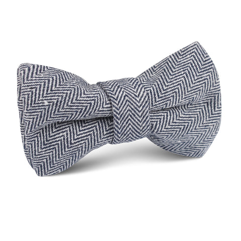 Navy Blue Herringbone Linen Kids Bow Tie