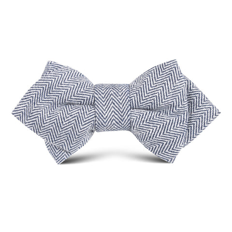 Navy Blue Herringbone Linen Kids Diamond Bow Tie