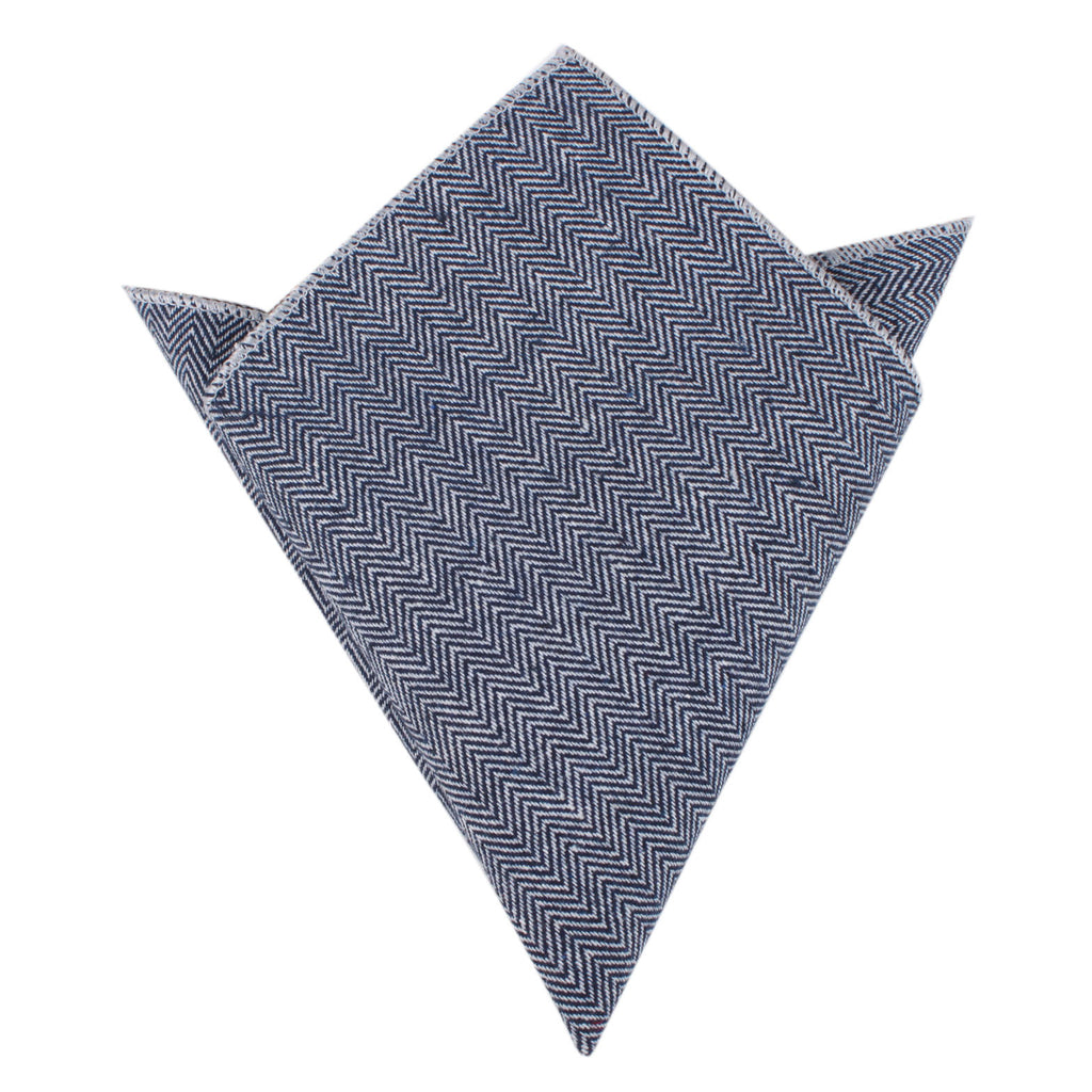 Navy Blue Herringbone Linen Pocket Square Mens