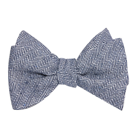Navy Blue Herringbone Linen Self Tie Bow Tie