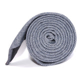 Navy Blue Herringbone Linen Skinny Tie Side roll