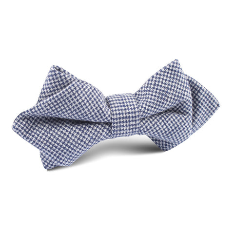 Navy Blue Houndstooth Linen Diamond Bow Tie