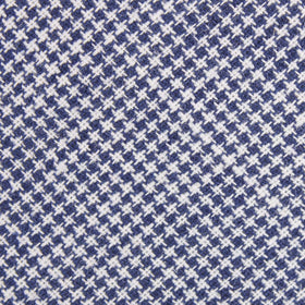 Navy Blue Houndstooth Linen Pocket Square
