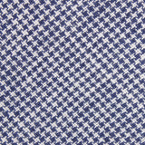 Navy Blue Houndstooth Linen Fabric Self Tie Diamond Tip Bow Tie L181