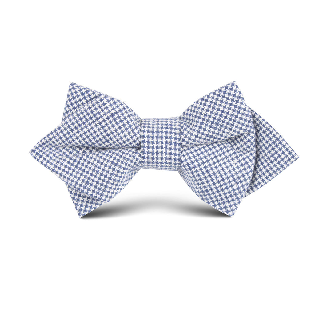 Navy Blue Houndstooth Linen Kids Diamond Bow Tie