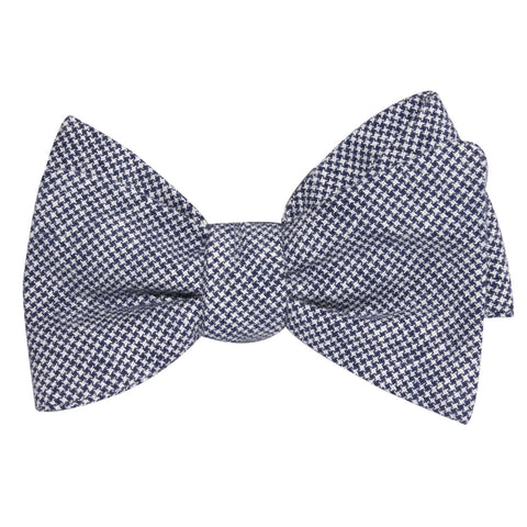 Navy Blue Houndstooth Linen Self Tie Bow Tie