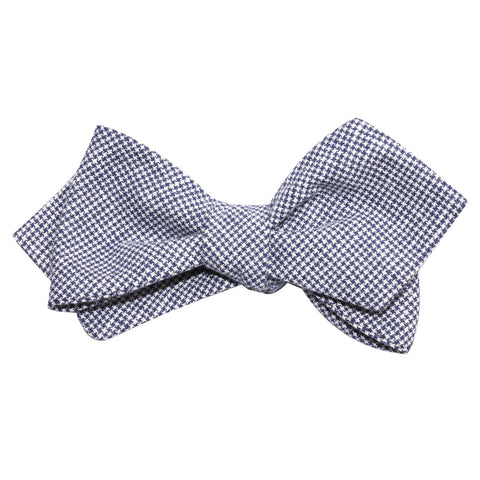 Navy Blue Houndstooth Linen Self Tie Diamond Tip Bow Tie