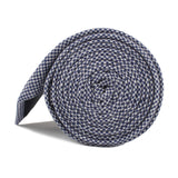 Navy Blue Houndstooth Linen Skinny Tie Side Roll