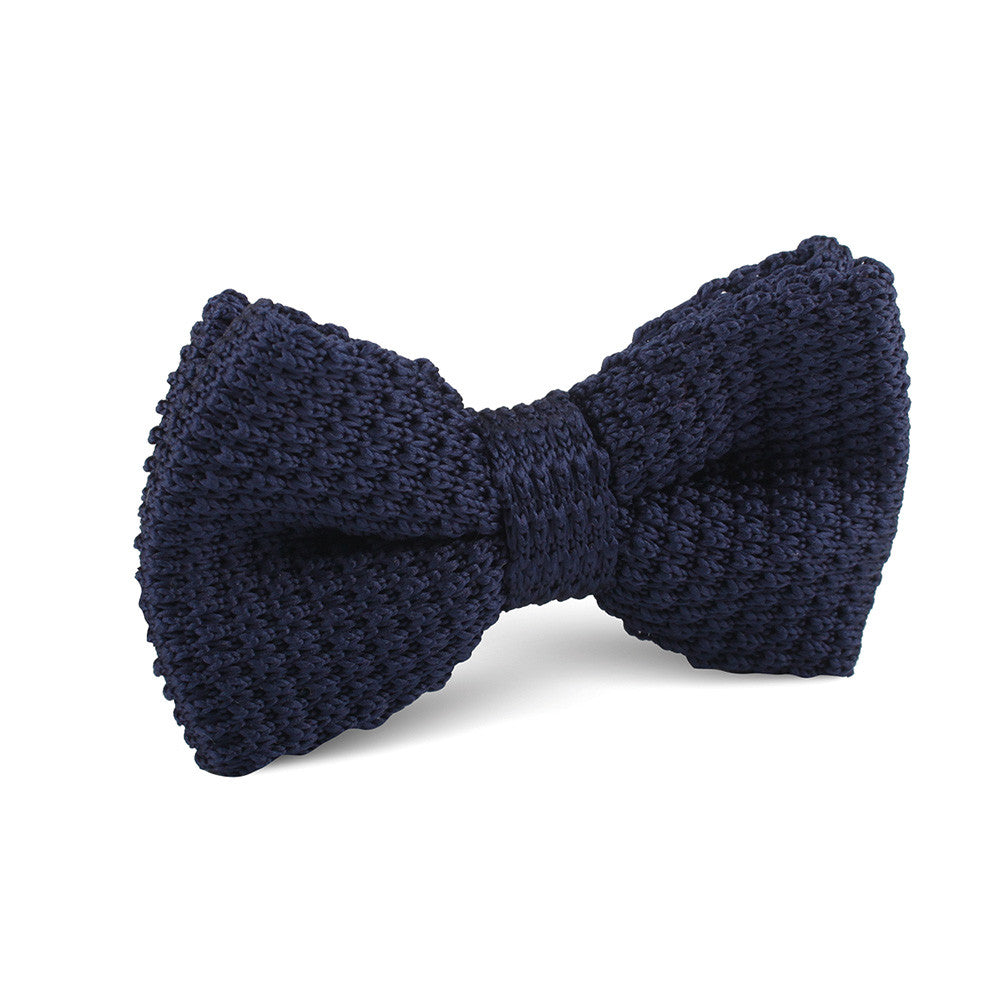 Navy Blue Knitted Bow Tie