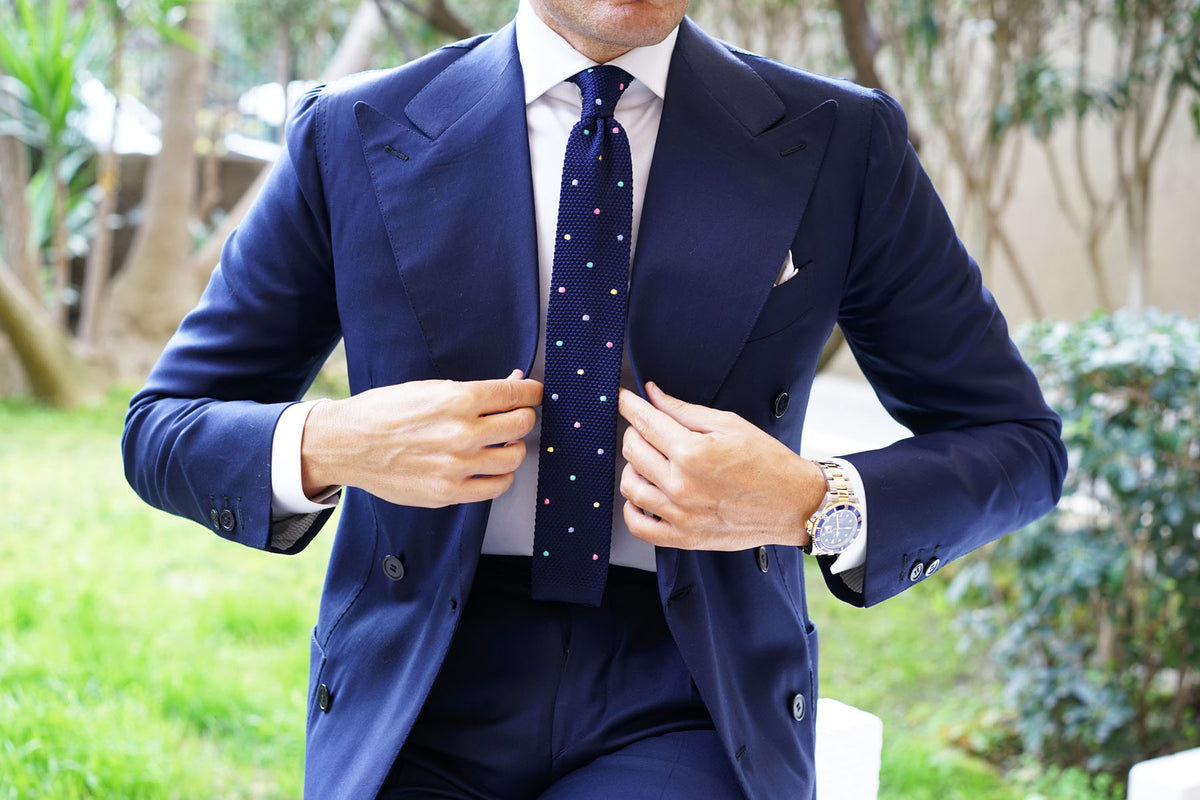 Navy Blue Knitted Tie with Green Blue Yellow & Pink Polka Dots