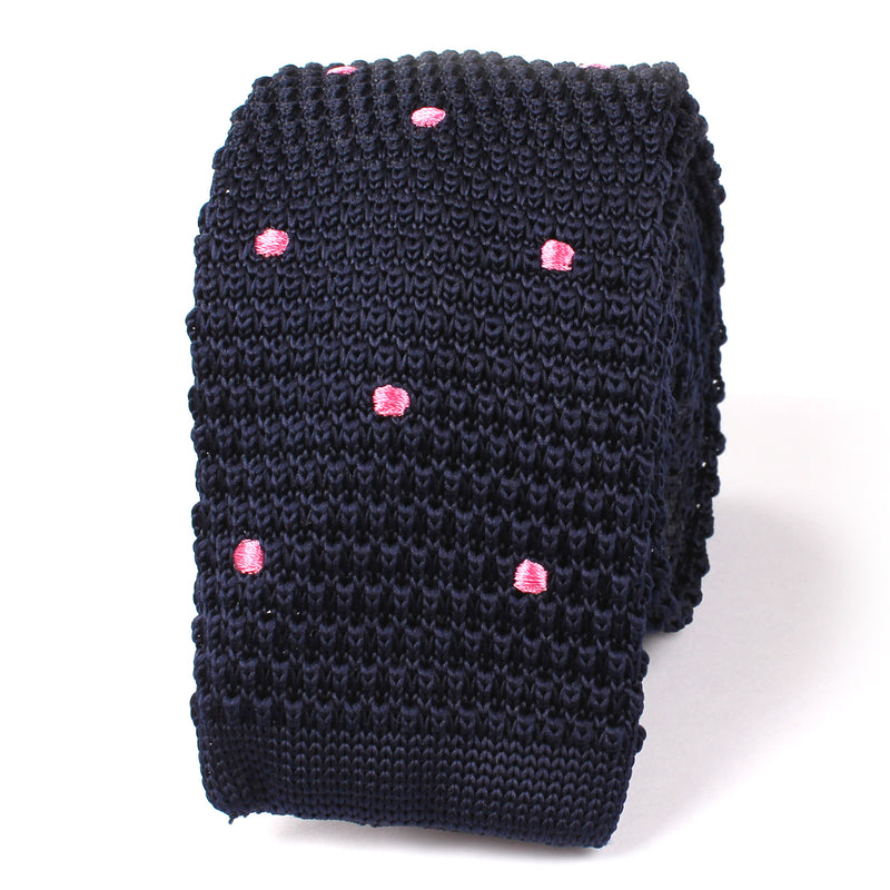 Navy Blue Knitted Tie With Pink Polka Dots Knit Ties Knits Necktie