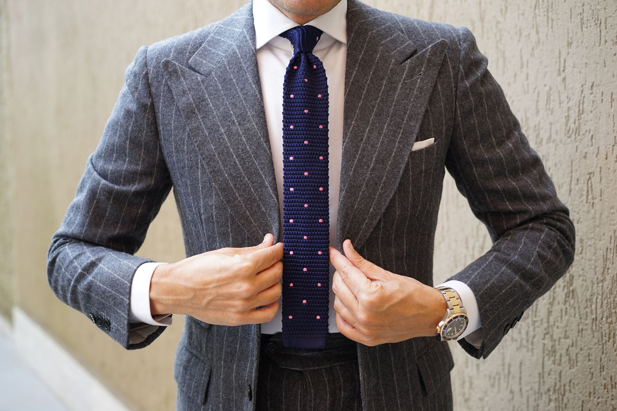 Navy Blue Knitted Tie with Pink Polka Dots