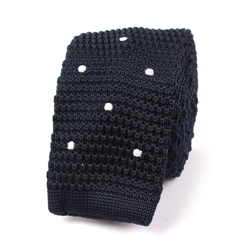 Navy Blue Knitted Tie with White Polka Dots