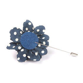 Midnight Blue Lapel Flower With White Dots Pin Front Boutonniere