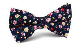 Navy Blue Liberty Floral Flower Bow Tie
