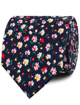 Navy Blue Liberty Floral Flower Necktie