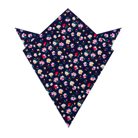 Navy Blue Liberty Floral Flower Pocket Square