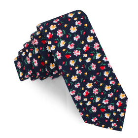 Navy Blue Liberty Floral Flower Skinny Tie
