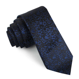 Navy Blue Liberty Floral Skinny Tie