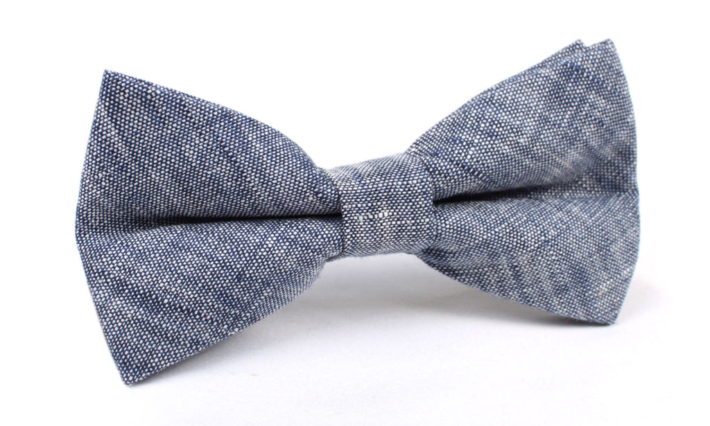 Navy Blue Linen Chambray Bow Tie