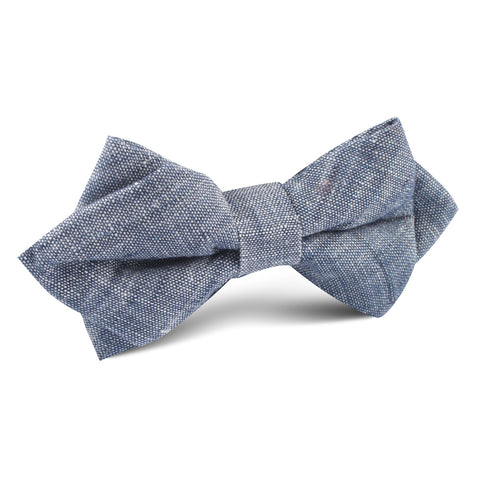 Navy Blue Linen Chambray Diamond Bow Tie