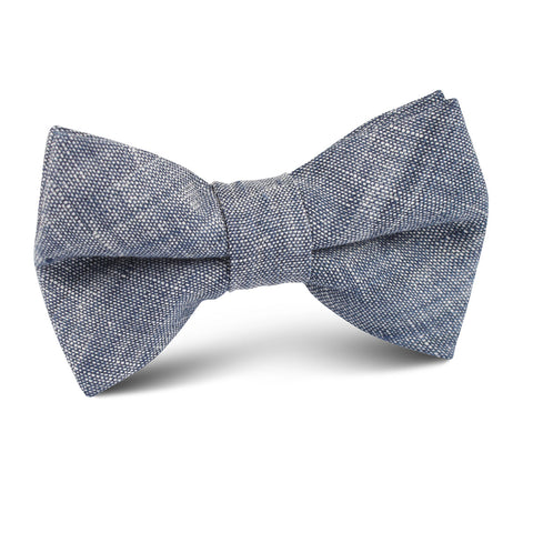 Navy Blue Linen Chambray Kids Bow Tie