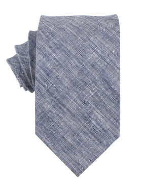 Navy Blue Linen Chambray Necktie