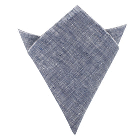 Navy Blue Linen Chambray Pocket Square