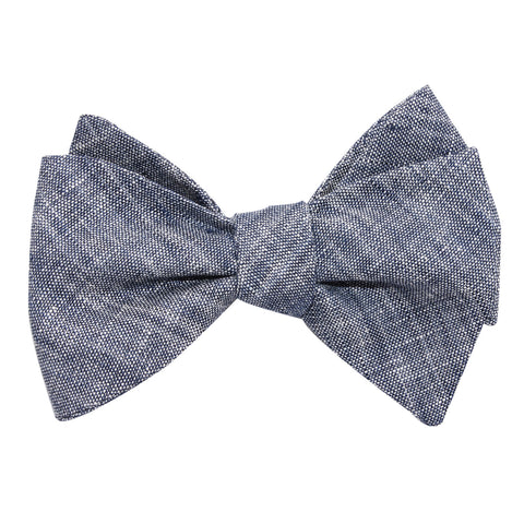 Navy Blue Linen Chambray Self Tie Bow Tie