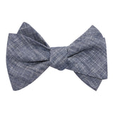 Navy Blue Linen Chambray Self Tie Bow Tie 2