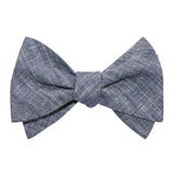 Navy Blue Linen Chambray Self Tie Bow Tie 3