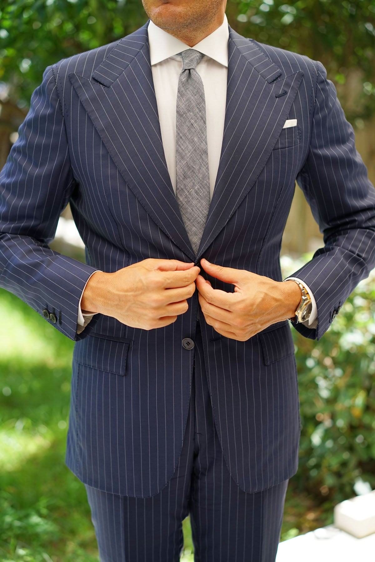 Navy Blue Linen Chambray Skinny Tie