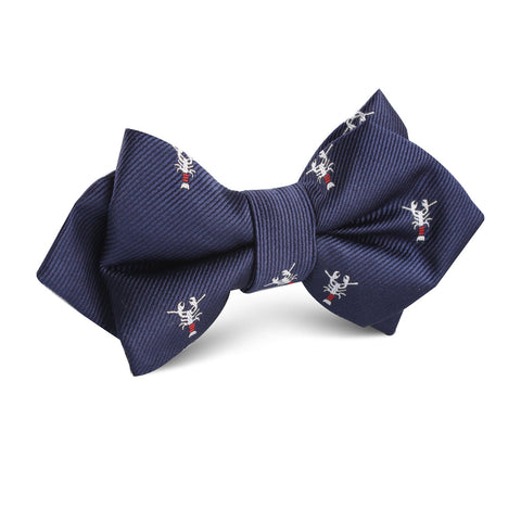 Navy Blue Lobster Diamond Bow Tie