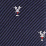 Navy Blue Lobster Fabric Skinny Tie M095
