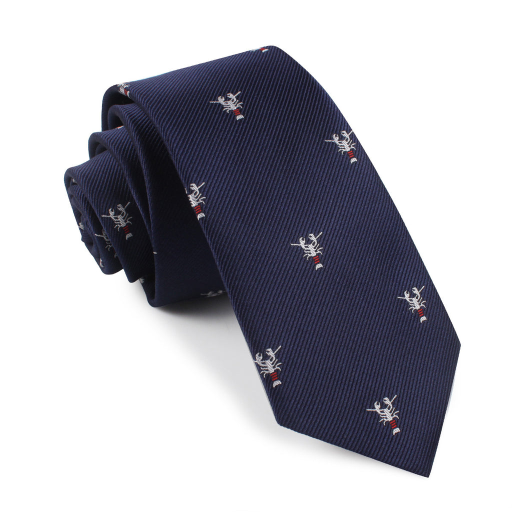 Navy Blue Lobster Skinny Tie