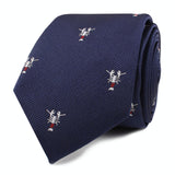 Navy Blue Lobster Skinny Tie Front Roll