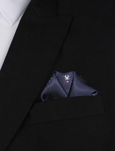 Navy Blue Lobster Pocket Square