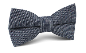 Navy Blue Needle Stitch Linen Bow Tie