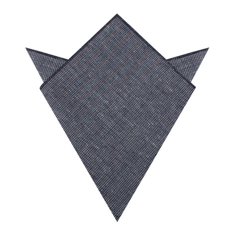 Navy Blue Needle Stitch Linen Pocket Square